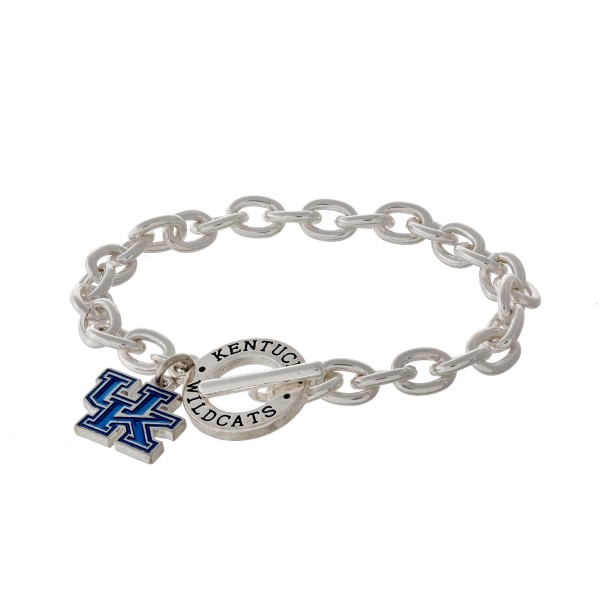 Silver tone officially licensed University of Kentucky toggle bracelet with the logo charm.