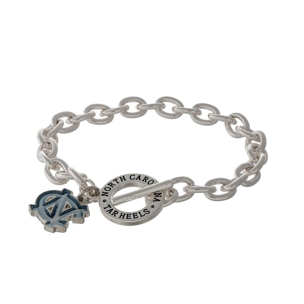 Silver tone officially licensed University of North Carolina toggle bracelet with the logo charm.