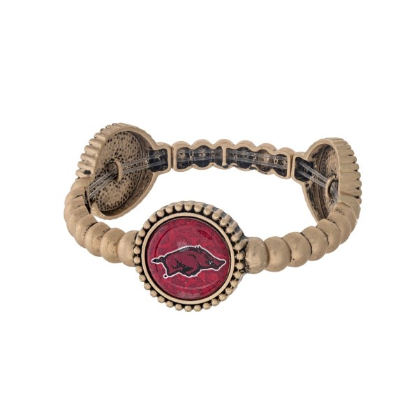 Officially licensed gold tone University of Arkansas stretch bracelet with three stations. Our own exclusive design.