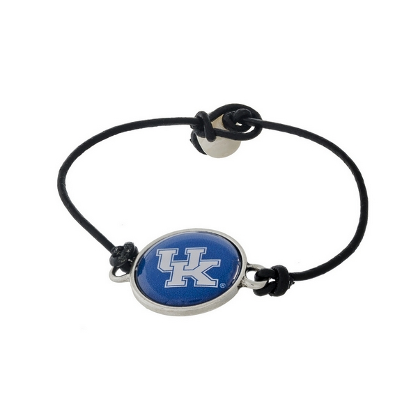 *Our Exclusive Design* Officially licensed University of Kentucky, genuine leather cord bracelet with a freshwater pearl bead closure.