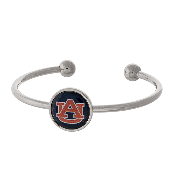 Officially licensed, silver tone cuff bracelet with the Auburn University logo.