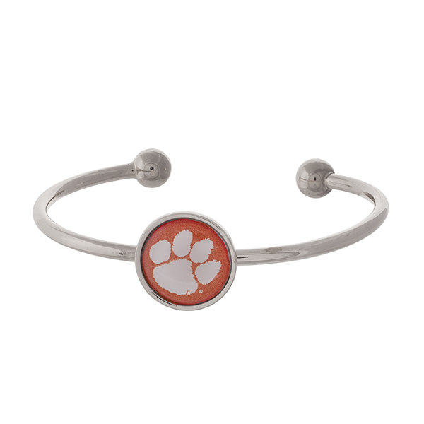 Officially licensed, silver tone cuff bracelet with the Clemson University logo.