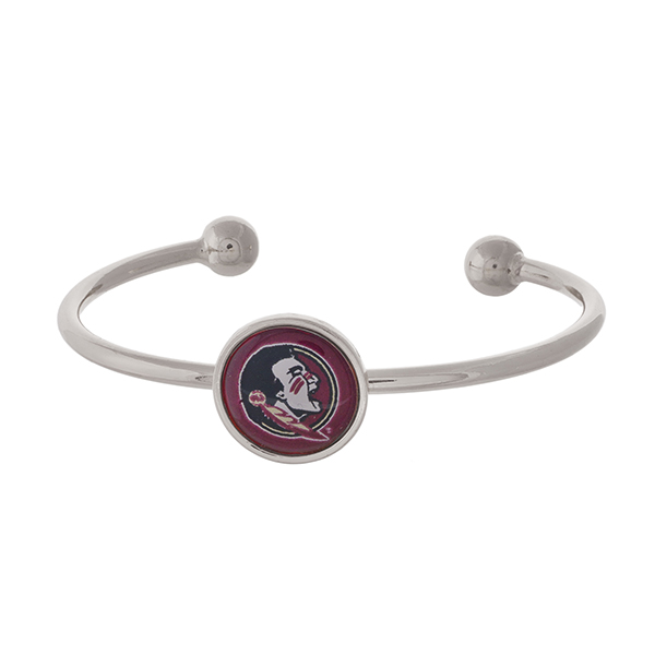 Officially licensed, silver tone cuff bracelet with the Florida State logo.