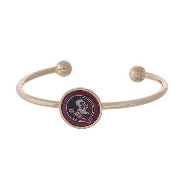 Officially licensed, gold tone cuff bracelet with the Florida State logo.