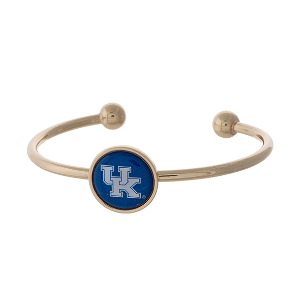 Officially licensed, gold tone cuff bracelet with the University of Kentucky logo.