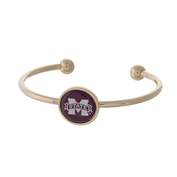Officially licensed, gold tone cuff bracelet with the Mississippi State logo.