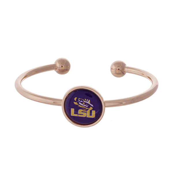 Officially licensed, rose gold tone cuff bracelet with the LSU logo.