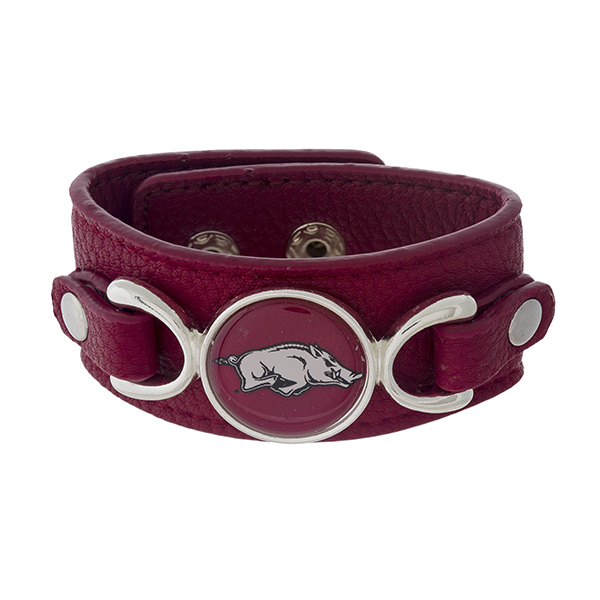 Wholesale officially licensed faux leather bracelet University Arkansas logo