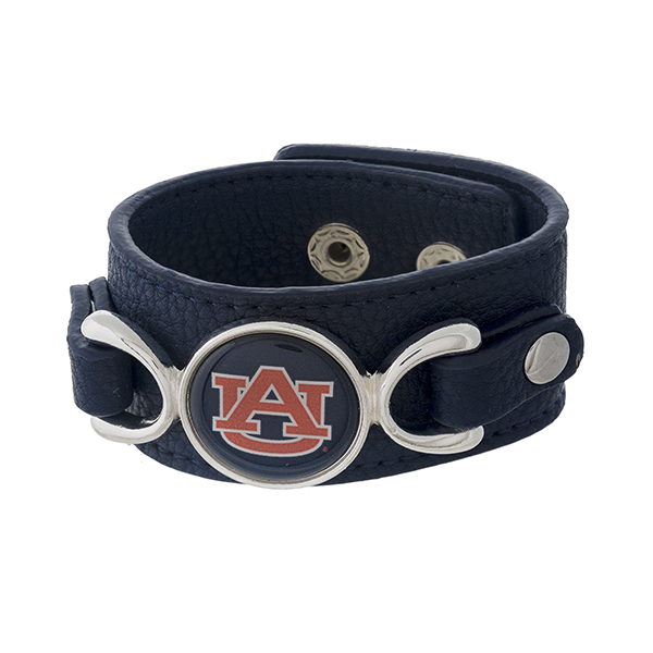 "Officially licensed, faux leather bracelet with the Auburn University logo. Approximately 1"" in width."