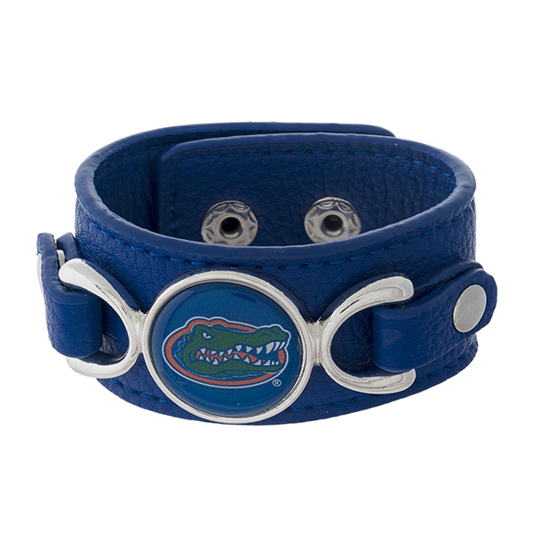 Wholesale officially licensed faux leather bracelet University Florida logo