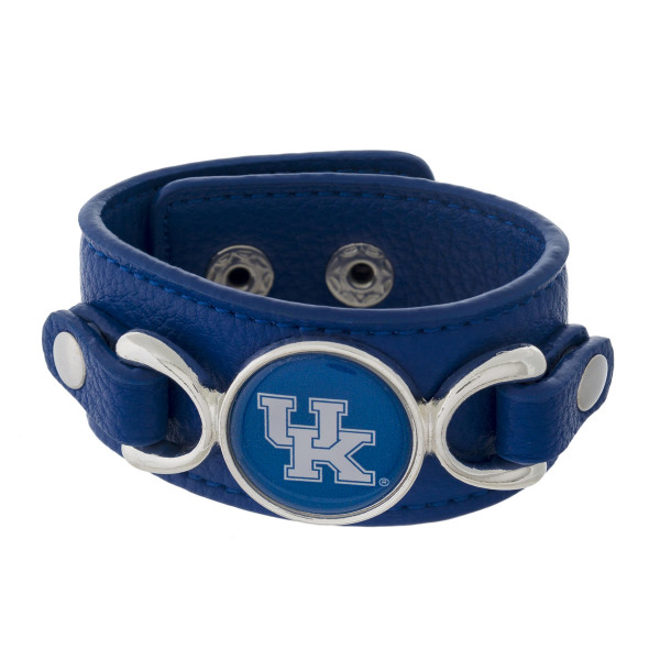 "Officially licensed, faux leather bracelet with the University of Kentucky logo. Approximately 1"" in width."