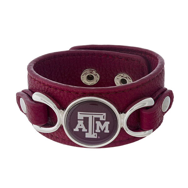 Wholesale officially licensed faux leather bracelet Texas M logo