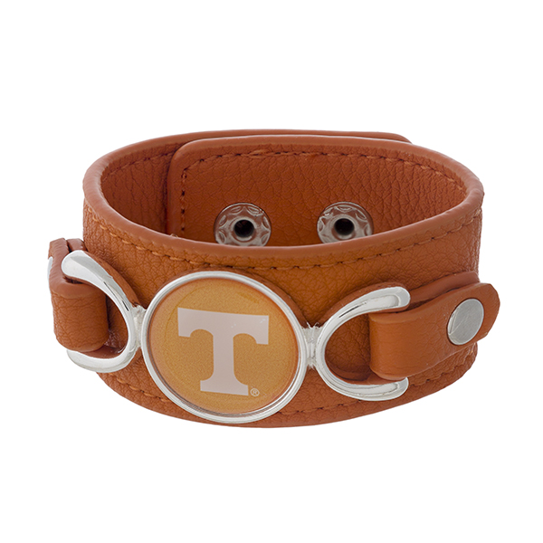 Wholesale officially licensed faux leather bracelet University Tennessee logo