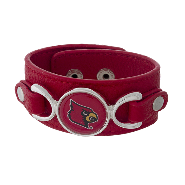 "Officially licensed, faux leather bracelet with the University of Louisville logo. Approximately 1"" in width."