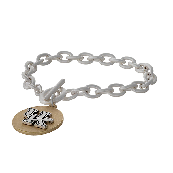 Officially licensed, two tone toggle bracelet with the University of Kentucky logo charm.
