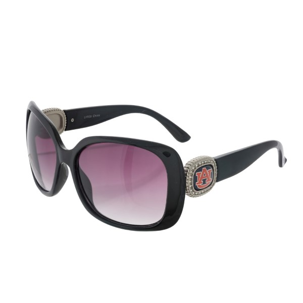Officially licensed black sunglasses with the  Auburn University logo on the sides. UV 400 protection.