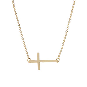 "14"" gold tone necklace with a 3/4"" horizontal east-west cross."