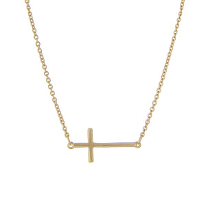 "16"" matte gold tone chain necklace with a 1"" horizontal horizontal east-west cross."