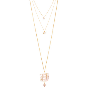 "Gold tone layering necklace featuring a wire wrapped pink natural stone pendant with a hanging stone bead. Approximately 34"" in length."