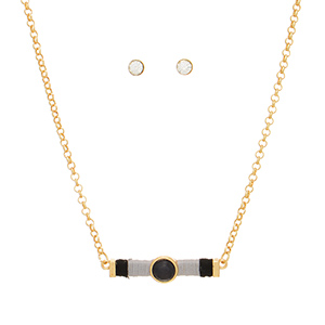 """Gold tone necklace set featuring a bar wrapped in black and gray thread with a black natural stone focal. Approximately 16"""" in length."""