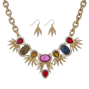 """Matte gold tone statement necklace set displaying multicolored cabochons with rhinestone accents. Approximately 18"""" in length."""