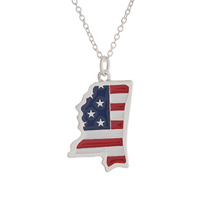 "Silver tone necklace with an American flag inspired state of Mississippi pendant. Approximately 18"" in length."