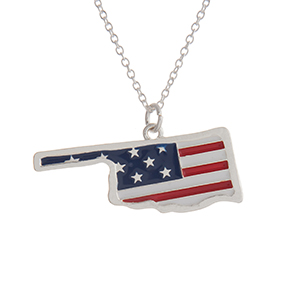 "Silver tone necklace with an American flag inspired state of Oklahoma pendant. Approximately 18"" in length."