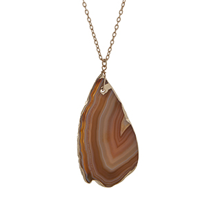 "Gold tone necklace displaying a tan teardrop shape natural stone pendant. Approximately 29"" in length."