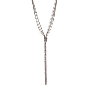 "Silver tone multiple strand necklace displaying delicate chains with a knot. Approximately 42"" in length."