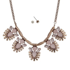"Burnished gold tone necklace set with pink opal clusters and matching earrings. Approximately 16"" in length."