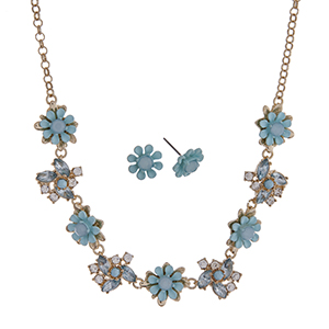 """Gold tone necklace set with aqua flowers accented by clear rhinestones. Approximately 16"""" in length."""