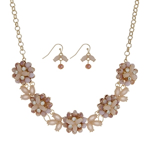 """Gold tone necklace set featuring five peach glass stone flowers accented by clear rhinestones. Approximately 18"""" in length."""