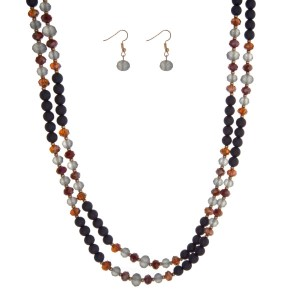 "Navy blue beaded wrap necklace set. Approximately 60"" in length."