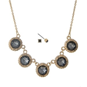 """Dainty gold tone necklace set with five gray rhinestones and matching earrings. Approximately 16"""" in length."""