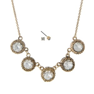 """Dainty gold tone necklace set with five clear rhinestones and matching earrings. Approximately 16"""" in length."""