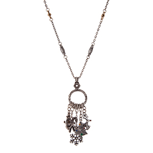 """Silver tone necklace with two tone Christmas charms. Approximately 24"""" in length."""