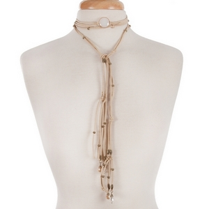 """Tan cord open wrap necklace with a white stone and gold tone beads. Approximately 80"""" in length."""