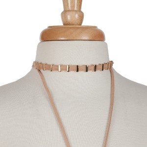 """Tan cord layered choker necklace with gold tone hardware. Approximately 14"""" in length."""