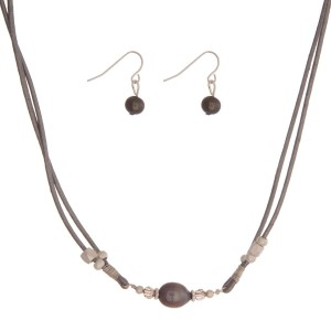 """Gray cord necklace set with a freshwater pearl bead and matching fishhook earrings. Approximately 16"""" in length."""