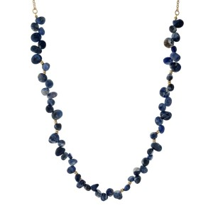 """Gold tone necklace with navy blue sodalite natural chipstones. Approximately 32"""" in length."""