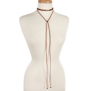 """Brown cord wrap choker necklace with matte tiger's eye natural stone beads and a hammered gold tone bar. Necklace can be adjusted up to 36"""" in length. Handmade in the USA."""