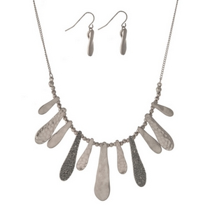 """Silver tone necklace set with hammered metal fringe, accented with gray rhinestones. Approximately 16"""" in length."""
