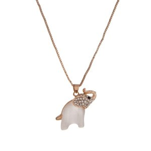 """Dainty gold tone necklace with a clear rhinestone and small pearl white elephant pendant. Approximately 18"""" in length."""