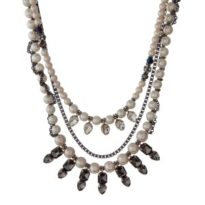 """Hematite and gold tone, triple row necklace with cream pearl beads, clear and gray rhinestones. Approximately 16"""" in length."""