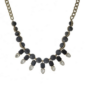 """Gold tone necklace with gray natural stone beads and clear rhinestones. Approximately 16"""" in length."""