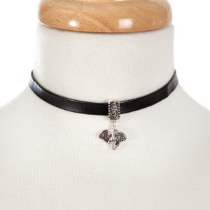 """Black faux leather choker with a silver tone, houndstooth elephant head pendant. Approximately 13"""" in length."""
