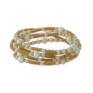 """Cream pearl bead and gold tone wrap bracelet with matching stud earrings. Approximately 32"""" in length. Can also be worn as a necklace."""