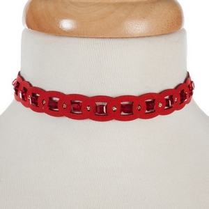 "Red beaded elastic choker. Approximately 12"" in length."