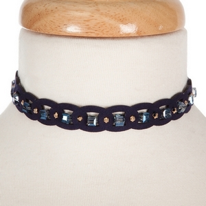 Navy blue faux suede choker with navy square beads. Adjustable elastic cord in the back for easily putting on and taking off.