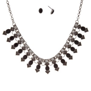 """Burnished silver tone necklace set with black rhinestones and matching stud earrings. Approximately 17"""" in length."""